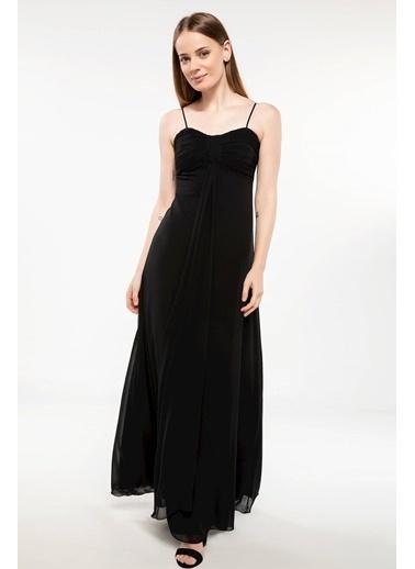 DeFacto İnce Askılı Şifon Abiye Elbise Siyah